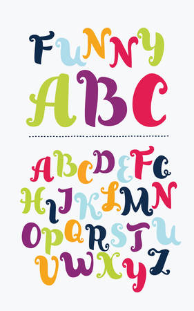 Vector funny cartoon ABC with curls. Hand drawn font. Vintage Latin alphabet. Capital uppercase letters in difference colors on white background Illustration
