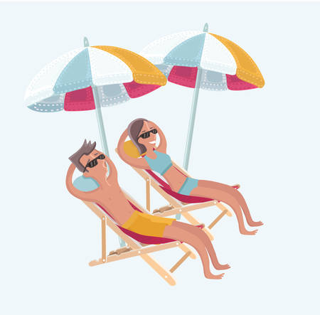 Vector cartoon funny illustration of couple sitting on the deck chairs at the sea under umbrellas Love or vacation concept. Isolated characters on white background