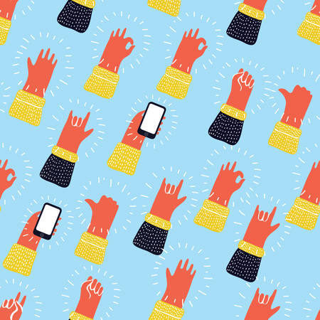 Funny cartoon colorful seamless pattern with hands showing different kind of gesture signs. Hand drawn background for your design. Illustration