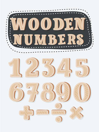 Vector cartoon set of wooden numbers and sights. Vector cartoon Funny colorful numbers set on black background in different colors. Division, exclamation point, multiplication, percent, equals, minus in white background+ Illustration