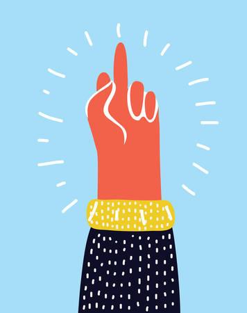 Vector cartoon illustration of Hand gesture, Fuck You, symbol. Middle finger sign. Cartoon vector illustration, sticker