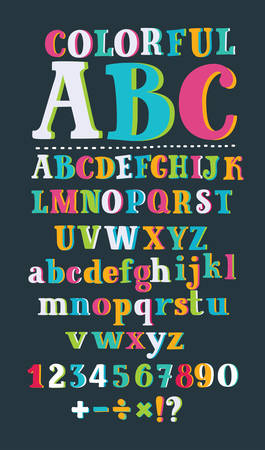 Vector cartoon serif hand drawn ABC in different color. Letters and numbers. Division, exclamation point, multiplication, percent, equals, minus in black color
