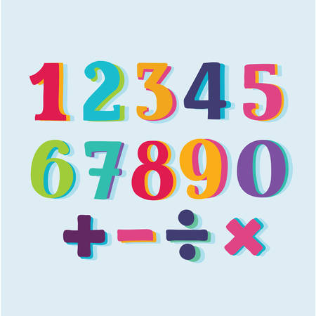 Vector cartoon hand drawn set of colorful numbers. Division, exclamation point, multiplication, percent, equals, minus in dark background Illustration