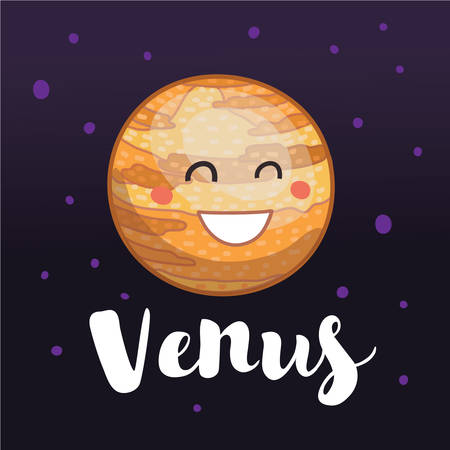 Vector cartoon illustration of cute cartoon Venus with cute smiling face. Hand drawn lettering name. Dark space stary background behind. Illustration
