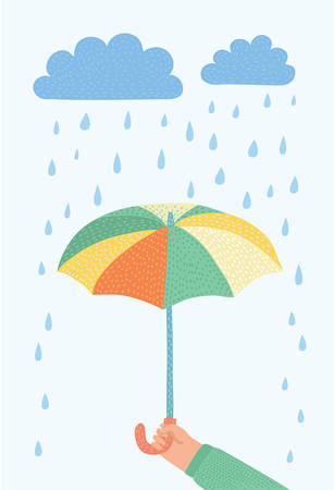 Vector cartoon illustration of human hands is holding an umbrella on a rainy day. Cloudy rainy day. Isolated object on white background.+