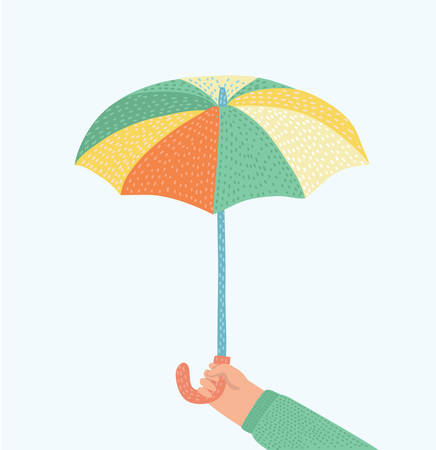 Vector cartoon illustration of human hand holding an umbrella on white background+