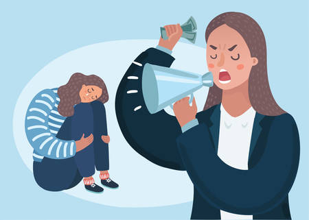 Vector cartoon illustration of angry upset mother character scolds her crying naughty teenager daughter. Family conflict. Parents and children. Woman boss.