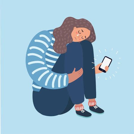 Vector cartoon illustration of a teenage Girl Crying Over What She Saw on Her Phone. Иллюстрация