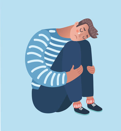 Vector cartoon illustration of despaired man hug his knee and cry when sitting alone on the floor. Isolated characters on white background.