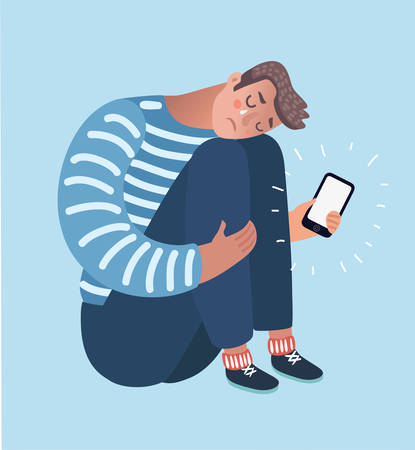 Vector cartoon illustration of Upset crying black man sitting and hugging his knees holding phone. Dislike, parting, disappointment, depression, sadness, social media, other person's stylelife.