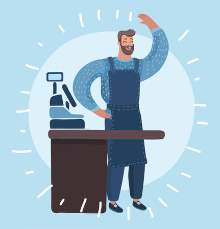 Vector cartoon funny illustration of Friendly young man with beard standing behind the cafe shop counter and waving by hand. Young man working in restaurant, helping customer with coffee.