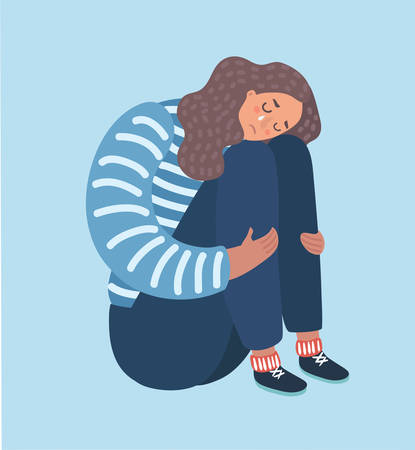 Vector cartoon illustration of sad girl sitting and unhappily hugging her knees and cry. Woman in depression.