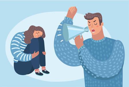 Ilustracja kreskówka zrozpaczonej kobiety siedząc na podłodze zły człowiek krzyczy na nią.