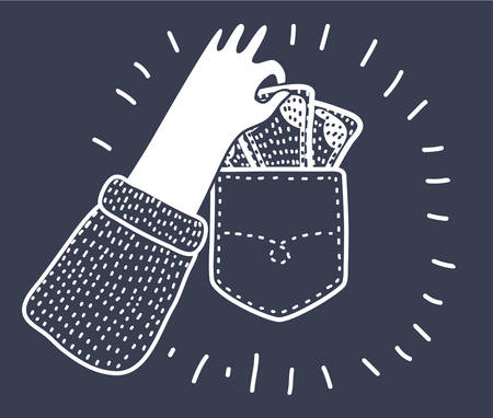 Vector cartoon funny illustration of Pickpocket hand taking out pocket icon. Illustration