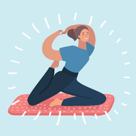 Vector cartoon illustration of young beautiful yoga posing. Female character on white background.