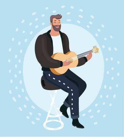 Vector cartoon illustration of bearded man playing guitar and sings a song.