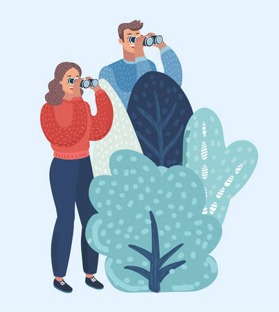 Vector cartoon illustration of man and woman watch ahead in through binoculars, hides behind bushes.
