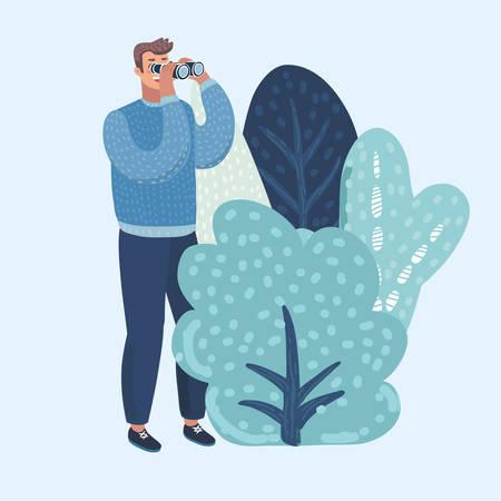 Vector cartoon illustation of Man with binoculars watching, hides behind bushes.