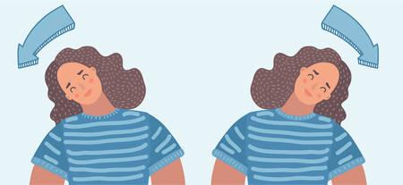 Illustation kreskówka wektor kobieta ćwiczenia na szyję i głowę. Strzałka wskazuje kierunek pochylenia głowy Ilustracje wektorowe