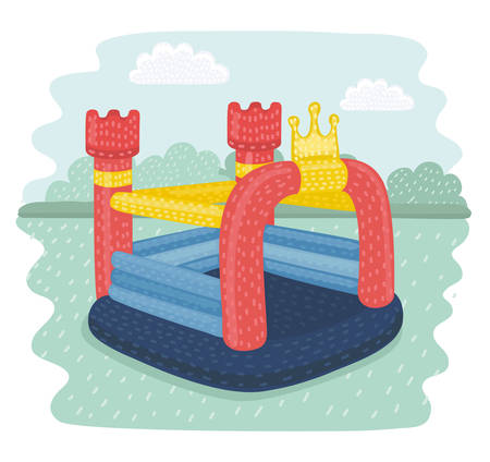 Vector cortoon illustration of inflatable castles and children hills on playground. Pictures isolate on park landscape.