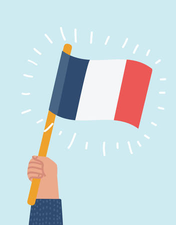 Vector cartoon illustration of France flag in human hand, round icon with shadow isolated on white.