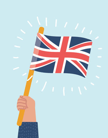 Vector cartoon illustration of Flag in human hand hold British flag, on isloated background. Illustration
