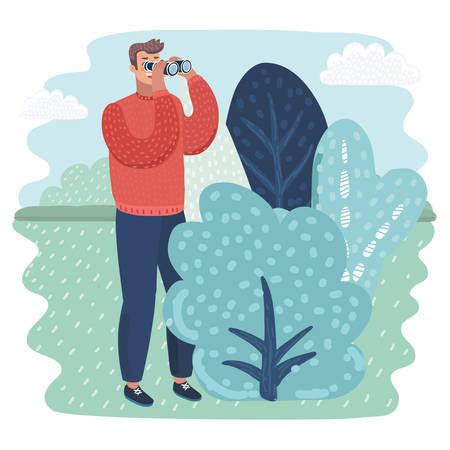 Vector cartoon illustration of Funny detective character looking through binoculars.