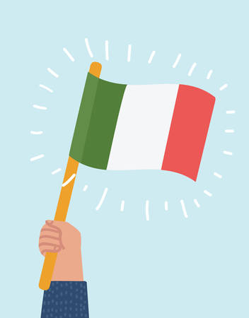 Vector cartoon illustration of Human hand proudly waving the national flag of Italy.