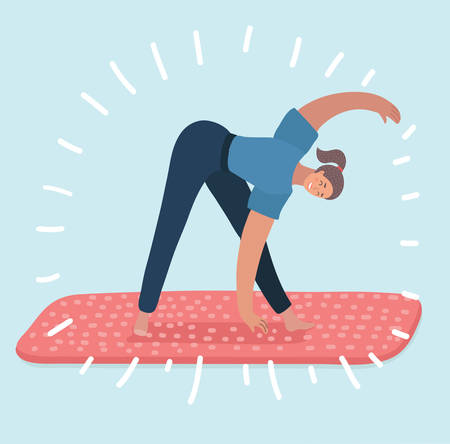 Vector cartoon illustration of woman yoga exercices. Female character on white background. Stock Illustratie