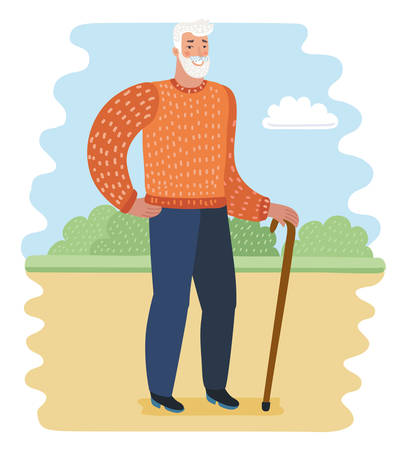 Vector cartoon illustration of old man with walkind cane in the park