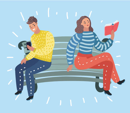 Vector cartoon illustration of Man and Woman sit at bench, reading book and look at smartphone.