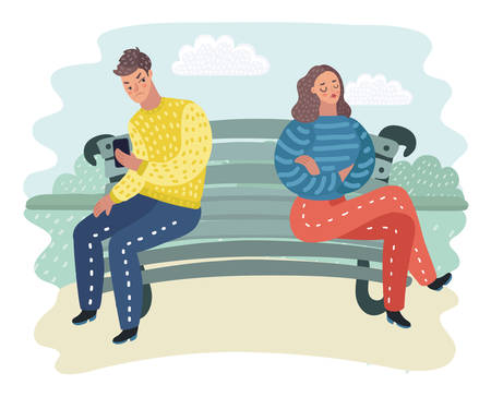 Vector cartoon illustration of Man and woman sitting at the bench in opposite side. Offended each other and dont look each other.in outtdoor park landscape. Illustration