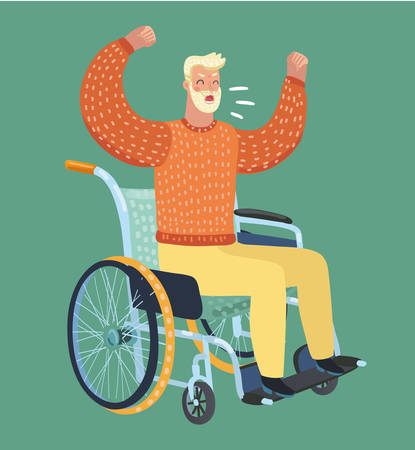 Vector cartoon illustration of man disabilities sitting in wheelchair. Swears, shouts, gets angry.