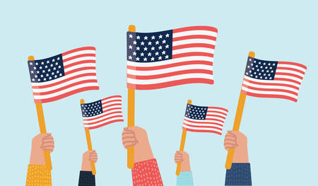 Vector cartoon illustration of human hands Holding Up American Flags Vectores