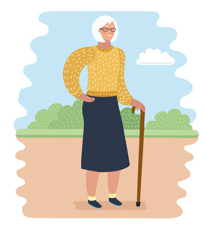 Vector cartoon illustration of Elderly woman in park with walking cane. Rest and outdoor quiet time. Illustration