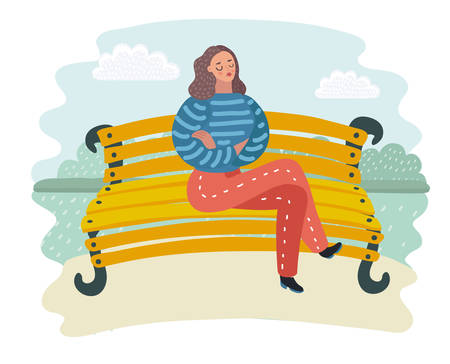 Vector cartoon illustration of womanangrily expressing her disappointment sitting at the branch in park.