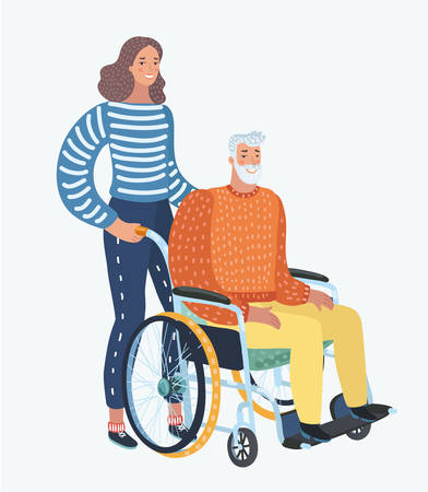 Vector cartoon illustration of Young woman social worker strolling with elder grey haired man in wheelchair. Family member care. Human character on white background. Illustration