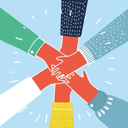 Vector l'illustrazione del fumetto della gente che un le loro mani. Concetto colorato Vettoriali