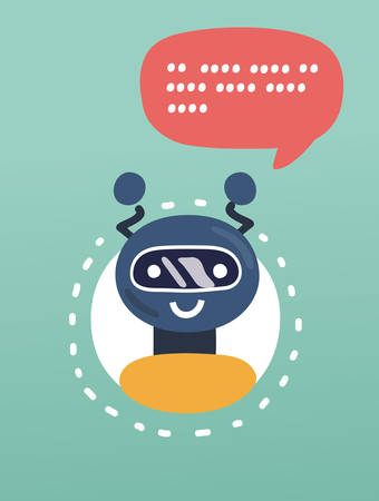 Vector cartoon illustration of Robot icon on green background. Speech bubble above. Cute Support service bot.