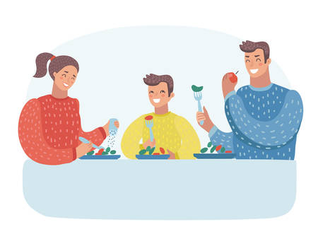 Vector cartoon illustration of Family having dinner. Young mother, father their son. Human Characters on isolated background.