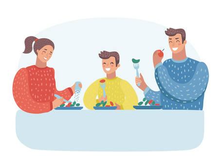 Vektorkarikaturillustration der Familie, die zu Abend isst. Junge Mutter, Vater, Sohn. Menschliche Charaktere auf getrenntem Hintergrund.