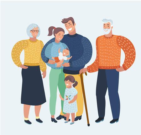 Vector ilustración de dibujos animados de dibujos animados, hermosa familia feliz, madre, padre, dos hijos, abuelos. Tres generaciones de buen humor. Personajes humanos