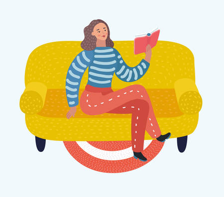 Vector cartoon Young woman reading book on sofa at home. Character on isolated background. Illustration
