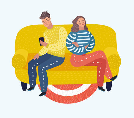 A Vector cartoon illustration of couple is offended with each other. They dont talk and look at all.
