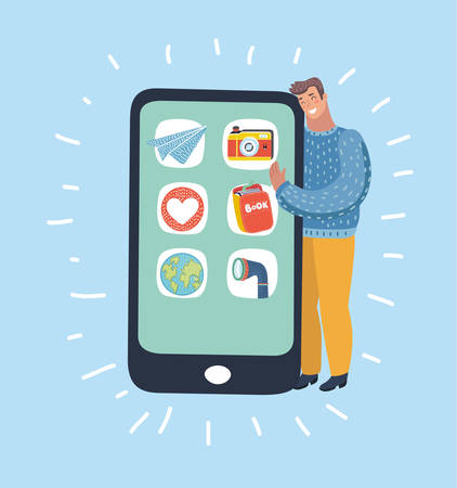 Vector cartoon funny illustration of Happy man standing in bed hugging a giant smartphon.