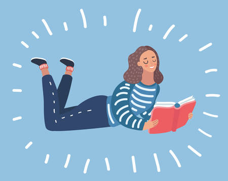 Vector cartoon illustration of side view of woman lying on stomak and reading book on isolated background.