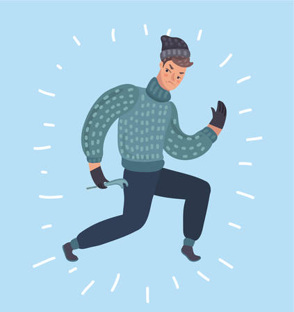 Vector cartoon illustration of burglar character. Criminal, thief or robber standing and crouching mask.