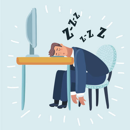 Vector cartoon illustration of Tired man sleeping in the office sitting on a red chair behind the office Desk. Businessman working on the computer.