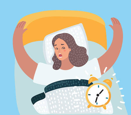 Cartoon illustration of girl waking up in the bed with clock alarm.