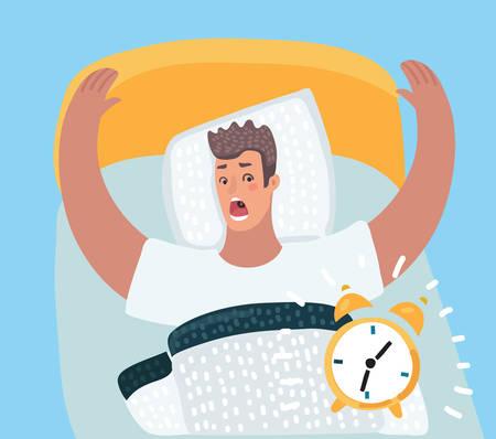 Karikaturillustration des gestressten verärgerten ängstlichen ängstlichen nervösen Mannes in der Panik, die auf die Uhr schaut, er sehr spät zur Arbeit oder zu einem Geschäftstreffen.